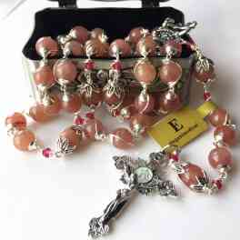 Sterling Silver flower UNDOUBTED strawberry BEADS ROSARY NECKLACE CROSS BOX