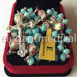 Sterling Silver GIFT ROSARY Cross necklace Aquamarine   Coloured glaze Beads