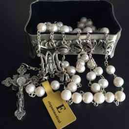 Rare Handmade Bali Sterling 925 Silver Beads  AAA Real Pearl Rosary  Box