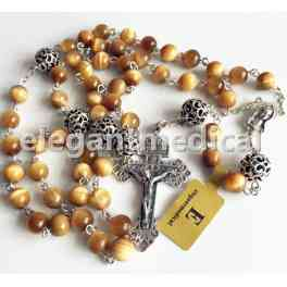 *SO Rare Bali sterling silver Beads & GOLD Tiger Eye Rosary Last Supper rosary box