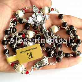 925 Sterling Silver Wire Wrap 5a Garnet catholic ROSARY Bead Cross NECKLACE BOX