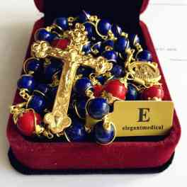 Lapis lazuli GOLD 5 DECADE Rosary Handmade Wire Wrapped Beads NECKLACE Cross