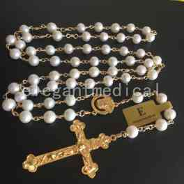 Rare GOLD AAA White Pearl Beads catholic Rosary NECKLACE Cross Crucifix GIFTS BOX
