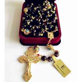 Plated 14K gold Wire Wraped Bead Garnet Gemstone ROSARY CROSS CATHOLIC NECKLACE