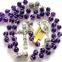 Bali 925 Sterling Silver Beads Amethyst Catholic necklace Wire Wrap Rosary Cross Box