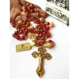 Rare Gold Wire Wrap RED AGATE & Pearl BEADS Handmade Rosary CROSS Necklace BOX