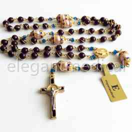 *Rare Nice GOLD WIRE WRAP Garnet Gemstone Bead ROSARY CROSS NECKLACE CRUCIFIX CATHOLIC