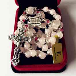 Pink Quartz Bead Rosary Cross necklace box Sterling Silver flower beads catholic