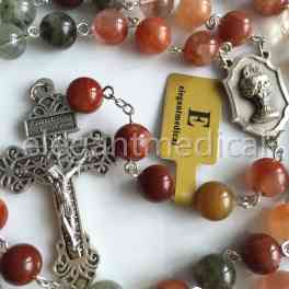 XL 10MM Natural fukurokuju crystal bead rosary Pardon Crucifix catholic Gift BOX