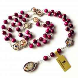 Rare ( RED )8MM Tiger Eye Jade Beads SEVEN 7 SORROWS Rosary