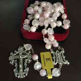 Rare Pink Quartz Beads Catholic Rosary Italy Crucifix Cross necklace Gift box