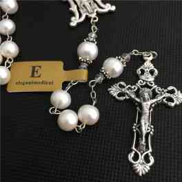 Rare Valuable AAA 8MM Real Pearl & Rose Beads Rosary Crucifix / Cross  - Catholic