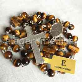 Rare Yellow Tiger Eye Jade Beads First Communion gifts Rosary Cross NECKLACE BOX