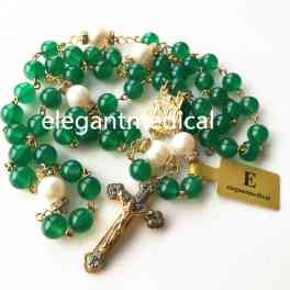 Nice Gold Green Jade Beads  AAA10MM Real Pearl rosary cross NECKLACE CATHOLIC