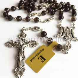 Rare Rare Smoky Quartz Beads 5 DECADE Catholic Rosary CROSS gifts necklace Box