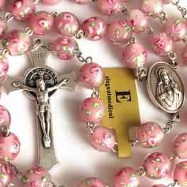 Handmade Veluriyam ROSE BEADS ROSARY  CROSS - beautiful
