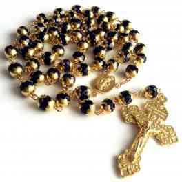 GOLD BLUE JADE PRAYER BEADS Vatican ROSARY ITALY CROSS Catholic Necklace Box