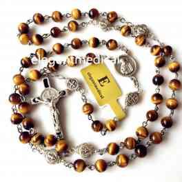 NICE St. Benedict Tiger Eye Beads gift Rosary Catholic Necklace Cross Jerusalem