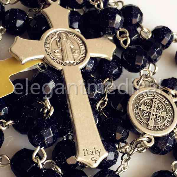elegantmedical BLUE SAND STONE BEADS ROSARY NECKLACE ITALY Crucifix