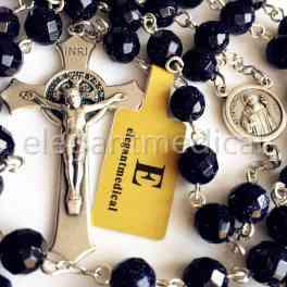 BLUE SAND STONE BEADS ROSARY NECKLACE ITALY Crucifix Catholic Men's Women Gift