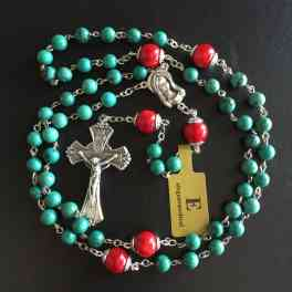 Natural Turquoise rosary  crucifix Necklace & sterling Silver Red Coral Beads