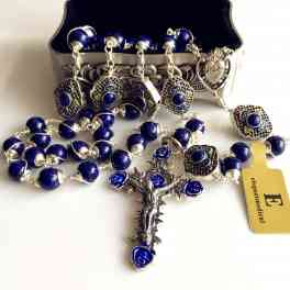 Bali STERLING 925 SILVER ROSARY BEADS RLAPIS LAZULI NECKLACE CROSS BOX catholic