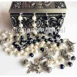 Sterling 925 Sterling Silver AAA10MM White/Black Real Pearl Bead Wedding rosary Cross Box