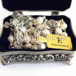 Rare Bali Sterling Silver Bead AAA White Pearl Catholic Rosary NECKLACE Cross Box