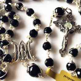 Rare Bali Sterling Silver Rosary Beads Cross black Carnelian Necklace Gift last supper Box