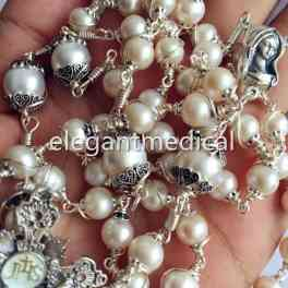 Rare Details about  Bali 925 Sterling Silver 3A White Pearl Beads Rosary NECKLACE Cross Crucifix